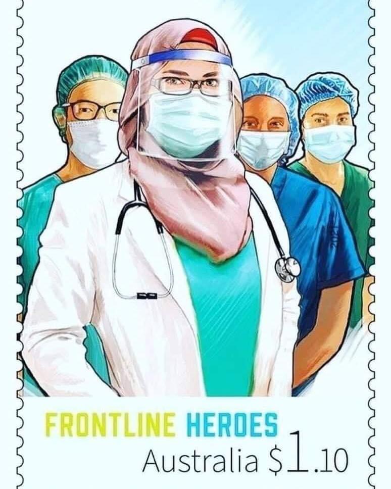 استراليا تصدر طوابع بريدية تقديرًا لمجهودات الكادر الطبي في مكافحة وباء كورونا ويضم سيدة محجبة في المقدمة 🧕🩺.